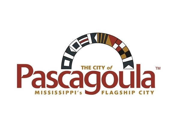 Pascagoula City logo. Pascagoula in red. with nautical flags in an arch about Pascagoula