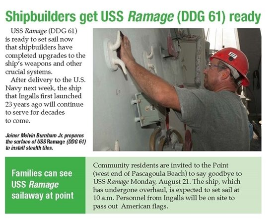 Flyer with text that says Shipbuilders get USS Ramage ready in green font