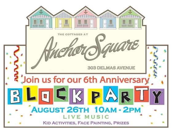 ANCHOR SQUARE BLOCK PARTY FLYER WITH SMALL COTTAGES