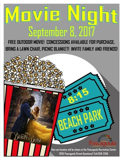 Movie Night September flyer with popcorn and movie tickets