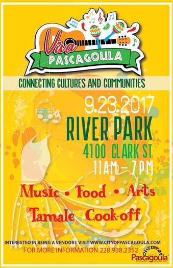 Viva Pascagoula Flyer: Yellow with girl dancing. text in green.