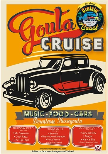 'Goula Cruise Flyer: Car on an orange background with white and red text.