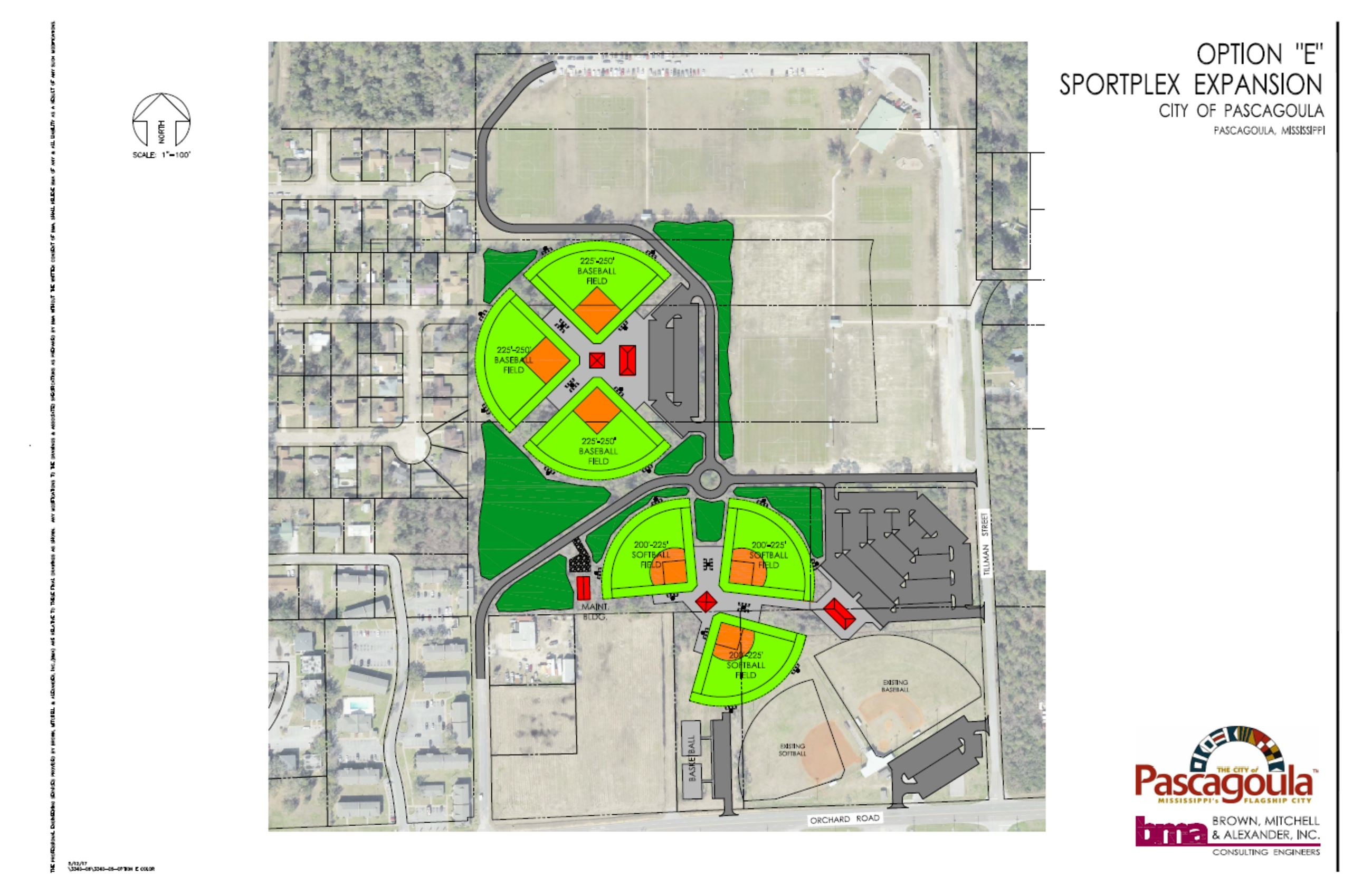 Colored Drawing of Option E of the Sportplex expansion