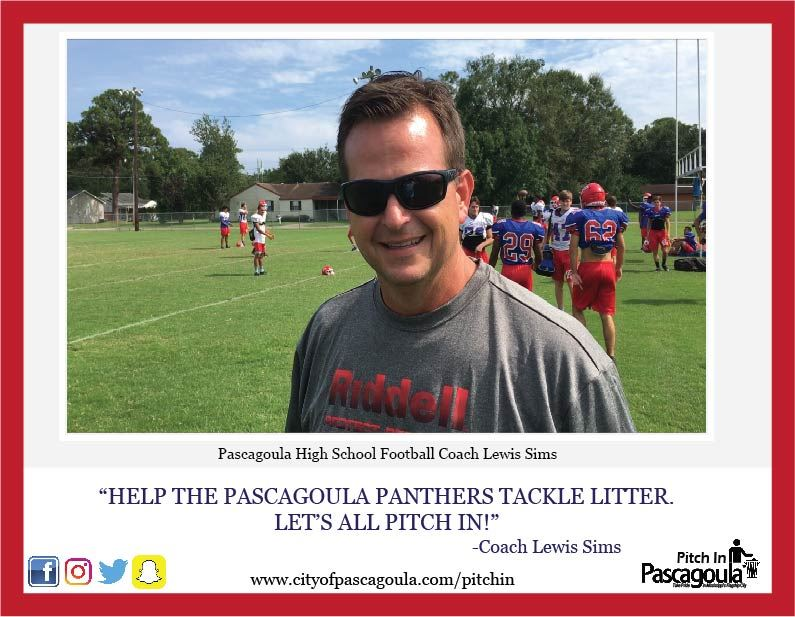 Pascagoula High School Football Coach Lewis smiling