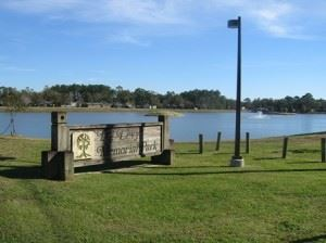 I.G. Levy Park, view of lake with grassy easement