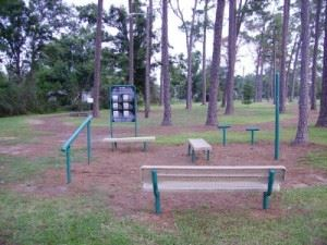 Pat Wilson Jogging Park, view of exercise station with benches and beams